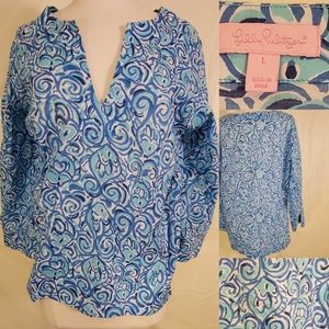 L | LILLY PULITZER | LONG SLEEVE FISH PATTERN TOP